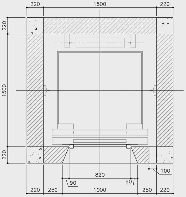bản vẽ hố thang máy 350kg